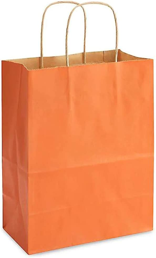 50 Pack Black Recyclable by Brilliant Bag Co- Small Shopping and Merchandise Bags 8x4.5x10.5 Kraft Colored Shopping Bags Strong Kraft Paper