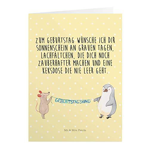 Mr. & Mrs. Panda Einladungskarte, Geburtstagskarte, Grußkarte Maus Pinguin Geburtstag mit Spruch - Farbe Gelb Pastell