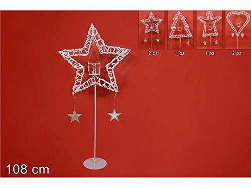 DUE ESSE CHRISTMAS S.r.l. Portacandela con Pendenti Legno 108 cm Bianco