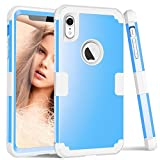 ZHOGTNEG Compatible with iPhone XR Case,3-in-1 Full Body Heavy Duty Protection Case with Anti-Scratch Shock-Absorption Bumper Cover Case for iPhone XR 6.1 inch (2018 Release) (Sky Blue/Light Grey)