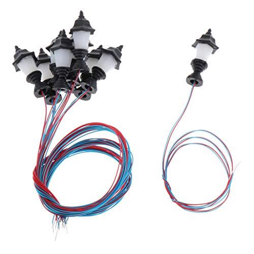 10 Pedazos Modelo de Farola LED en Miniatura Lámpara de Calle Luz de Noche Decoración para Mesa de Arena Micro Paisaje - 1.9cm-1