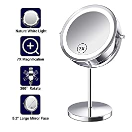 Benbilry Lighted Makeup mirror – LED Double Sided Magnifying Cosmetic Mirror