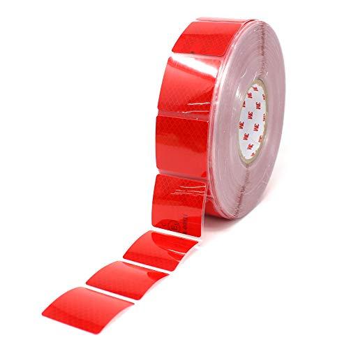 (4,03€/m) 3M Diamond Grade 997S Konturmarkierung segmentiert für Planenaufbauten für LKW Anhänger Reflexfolie reflektierende Folie 52mm (3 Meter, Rot)