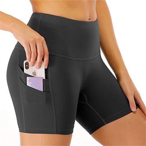 "Kyopp Women's 8"" /5"" High Waist Yoga Short Tummy Control Workout Running Athletic Exercise Shorts Side Pockets (5''-Dark Gray, L)"