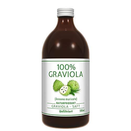 100% Graviola Frucht-Saft -unfiltriert & vegan- (500ml), aus 100% Graviola Püree. Stachelannone, Soursop, Corossol, Guanabana.