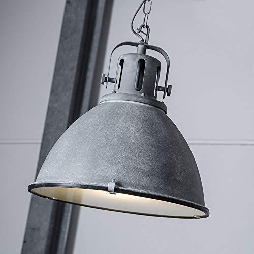 Vintage Pendelleuchte im Industry Beton Design mit Glasscheibe, 1x E27 max. 60W, Metall/Glas, grau Beton