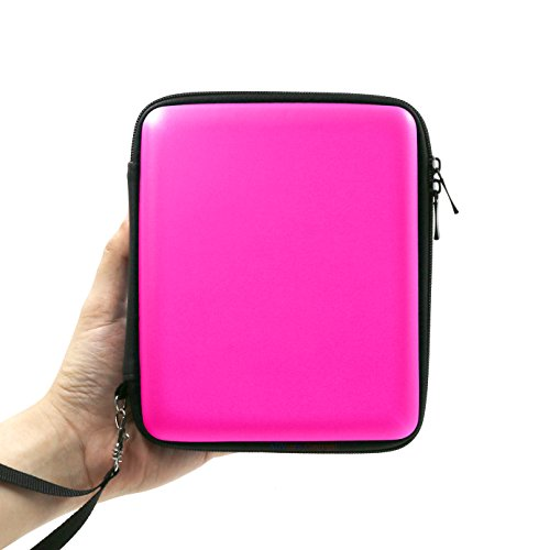 ADVcer 2DS Case, EVA Waterproof Hard Shield Protective Carrying Case with Hand Wrist Strap and Double Zipper Compatible with Nintendo 2DS (Fuchsia)