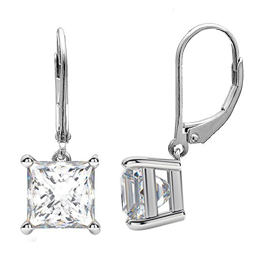 2-10MM Sterling Silver Princess Cut Square Drop Dangle Lever Back Cubic Zirconia Earring BEST Gift (7mm Sterling Silver)