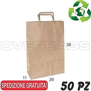 OverBags 50 PZ Borsa Shopper Sacchetto in Carta Fucsia 15X8X20 Manici RITORTI
