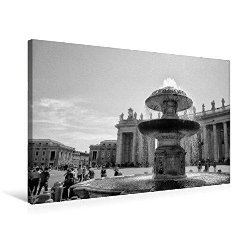 Calvendo Premium Textil-Leinwand 75 cm x 50 cm quer, Brunnen auf dem Petersplatz | Wandbild, Bild auf Keilrahmen, Fertigbild auf echter Leinwand, Leinwanddruck: Vatikan in schwarz und weiß Orte Orte