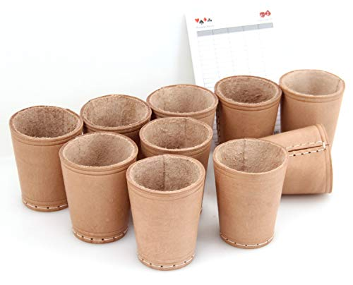 Ludomax 325134 Würfelbecher, 10 Stück Bundle, Echt Leder, genäht, ca. 9cm, Natur