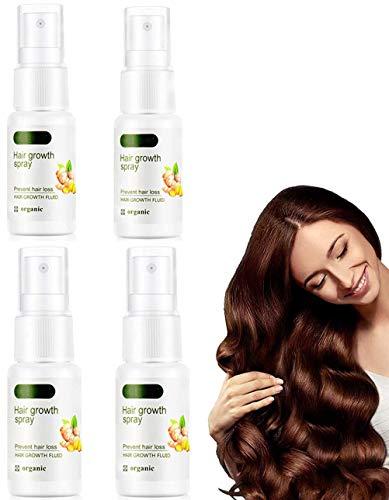 Spray anticaída GingerGrowth, spray de jengibre para el cabello, suero natural para el crecimiento rápido del cabello, spray para el crecimiento del cabello, anticaída (4 piezas)