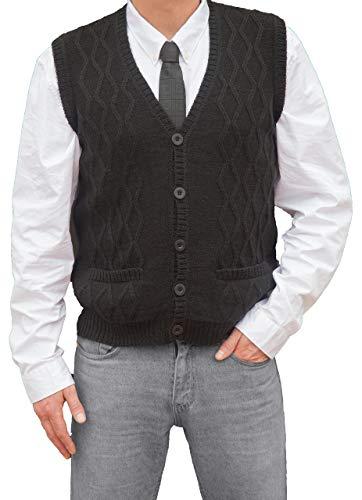 TINKUY PERU - Peruvian Alpaca Wool - Men´s Knitwear V-Neck Jacquard Vest Sweater Waistcoat (Large, Black)