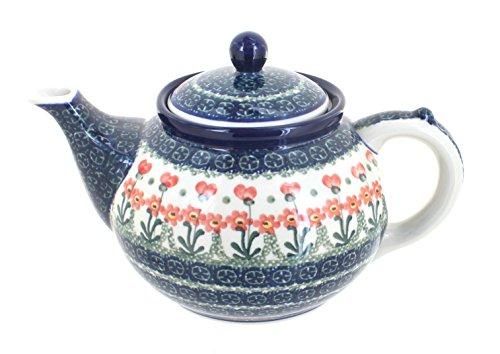 Blue Rose Polish Pottery Peach Posy Medium Teapot