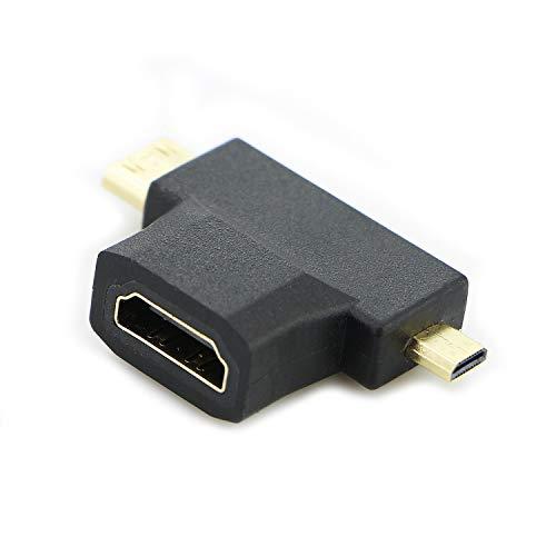 Wudi Chapado en Oro Mini-HDMI + Micro-HDMI al Adaptador de HDMI
