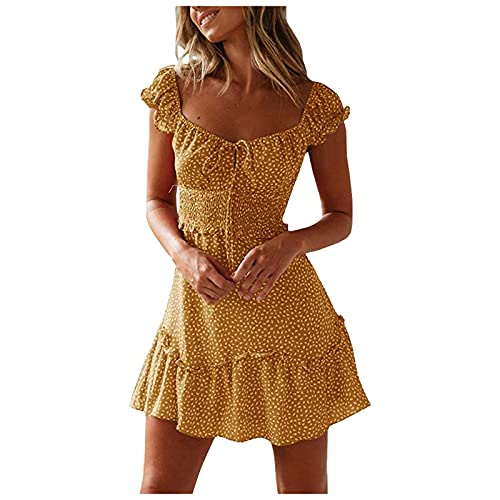 XINMINGREN Sommerkleid Damen Knielang, Kleider Boho Blumenmuster mit V-Ausschnitt Elegant Kurze Strand Freizeitkleider Sommerkleid Kleid...