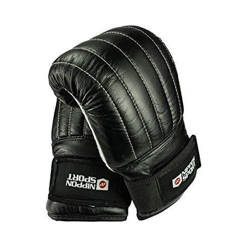 Nippon Sport 'Club' Sandsackhandschuhe - Punchinghandschuhe für das Training am Sandsack - Leder Schwraz M