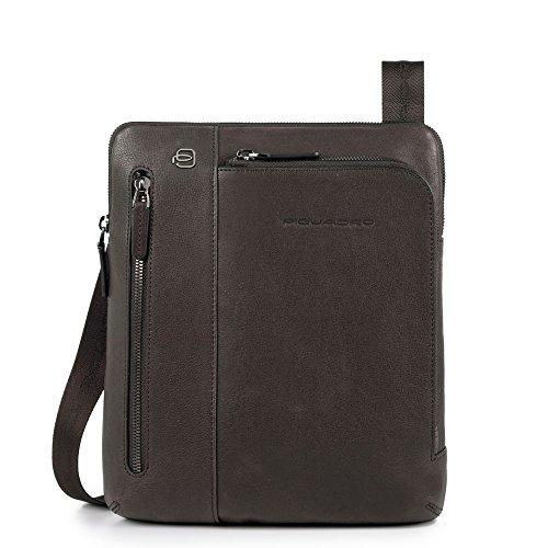 Piquadro Herren Black Square Messenger Bag, Marrone (Testa Di Moro), 4x27x23.5 cm (W x H x L)