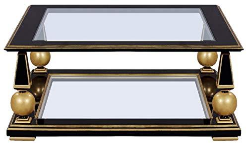 Casa Padrino Mesa de Centro Art Deco de Lujo Negro/Oro 113 x 113 x A. 47 cm - Magnífica Mesa de salón de Madera Maciza con Tapas de Vidrio - Muebles de Salón Art Deco