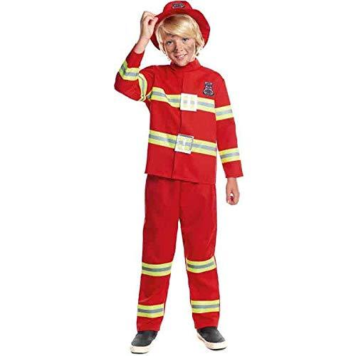 Disfraz Bombero Niño Uniforme con Gorro【Tallas Infantiles de 3 a 12 años】[3-4 años] Disfraz Carnaval Niño Profesiones Uniforme Rojo Desfiles Teatro Actuaciones Regalo