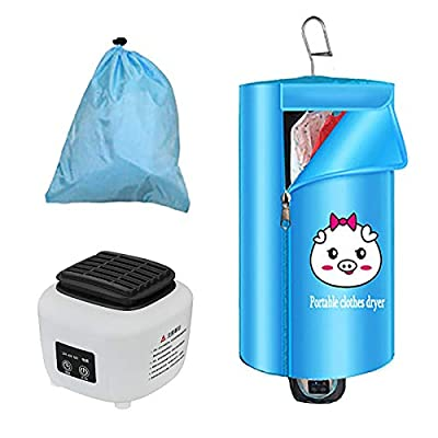Portable Clothes Dryer,foldable mini dryer,Multi-function Electric Air Clothes Dryer Bag Folding Clothes Dryer, Quiet Warmer Clothes Drying Machine,Suitable for winter and long rainy weather (Blue)