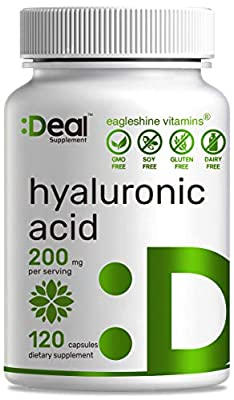 Eagleshine Vitamins Pure Hyaluronic Acid 200mg, 120 Capsules, Improve Skin, Face, Hair, Nail Condition and Support Healthy Joints, Bones & Connective Tissue