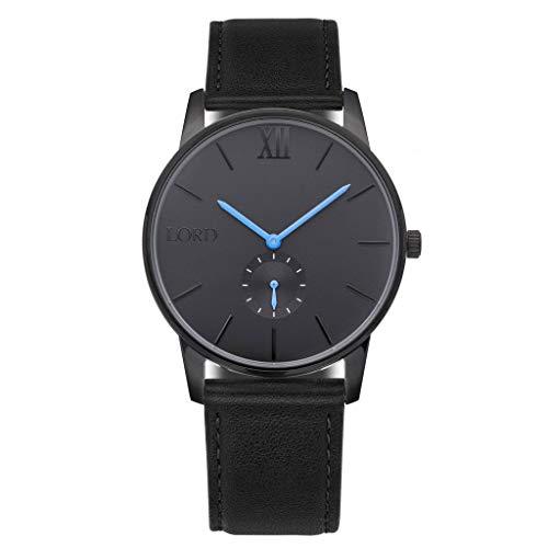 Lord Timepieces Herren Einsamkeit Schwarz Blau Uhr - Italienisches Lederband - 42mm