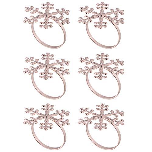 Amosfun 6pcs Christmas Snowflake Napkin Rings Metal Napkin Rings Napkin Holders Christmas Dinner Table Decorations Rose Gold