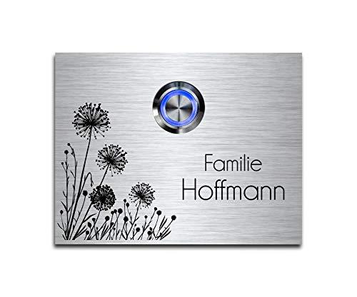 CHRISCK design - Edelstahl Türklingel mit Wunsch-Gravur Led-Beleuchtung und Motive 9x7 cm Klingel-Taster Namen Modell: Hoffmann-P