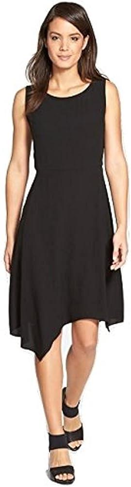Eileen Fisher Women's Asymmetrical Silk Crepe Dress Black Size Small