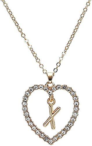 LKLFC Collar Mujer S Forma de corazón Collar con Colgante de Letra Estilo de Verano Collar de Cadena de Cristal Adornos Regalo de Novia Collar Colgante Regalo para Mujeres Hombres Niñas Niños