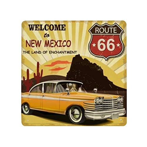 Cartel retro de bienvenida de Nuevo México cartel de cartel de pared de hojalata pared de Metal de hierro decoración de pared de aluminio placa decoración Cafe Bar 30x30cm