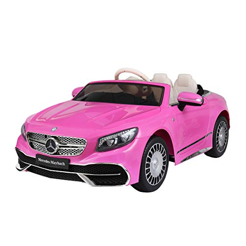 TOBBI 12V Licensed Mercedes-Maybach S650 Ride on Cars for Kids with Parental Remote Control Battery Powered Cars Electric Vehicle for Girls and Boys in Pink