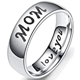 6mm Stainless Steel Mom Son Daughter Wedding Band Classic Ring Christmas Gift (Mom, 7)