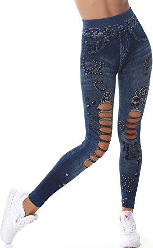 SL1 Leggings vaqueros de cintura alta para mujer, estilo desgastado, elásticos, 34/36/38 (10) Azul Talla única