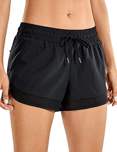 CRZ YOGA Femme Séchage Rapide Shorts de Sports Slip Intégré avec Pochette- 7.6cm Noir 44