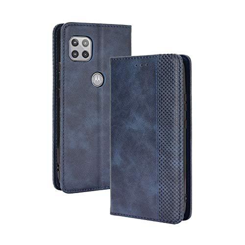 GOGME Leder Hülle für Motorola Moto G 5G Hülle, Premium PU/TPU Leder Folio Hülle Schutzhülle Handyhülle, Flip Hülle Klapphülle Lederhülle mit Standfunktion und Kartensteckplätzen, Blau