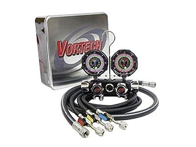 """CPS Vortech MV4H4P5EZ4 Valve Manifold, R-134A, 22, 404A, 410A 3 1/8"""" 1.0% Gauges, 5' Premium Black BV Hose Set & 3/8"""" Vac Hose"""