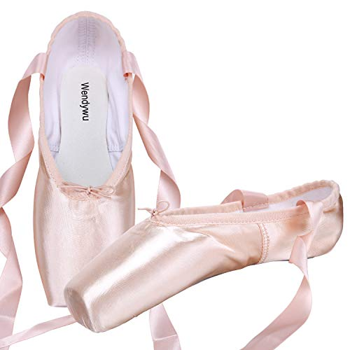 WENDYWU Professional Ballet Slipper Dance Shoe Pink Ballet Pointe Shoes with Toe Pad Protector for Girls (6)