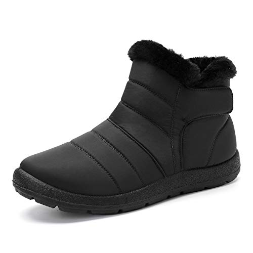 Pumoes Womens Warm Snow Boots Winter Waterproof Fur Lined Ankle Outdoor Boots Anti-Slip Booties Comfortable Lightweight Walking Shoes Slip on Zipped Sneakers Black 9 M US