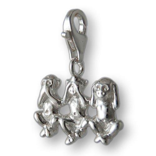 Melina Damen-Charm Anhänger drei Affen Motiv 925 Sterling Silber 1800028