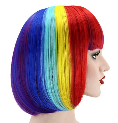 Women's Rainbow Bob Wigs & 1 Free Hair Net, for Daily / Masquerade / Halloween Costume Party Cosplay Wigs, Heat Resistant Synthetic Short Straight Multi-Color Wig, With Bangs, Length 14''; H11CH