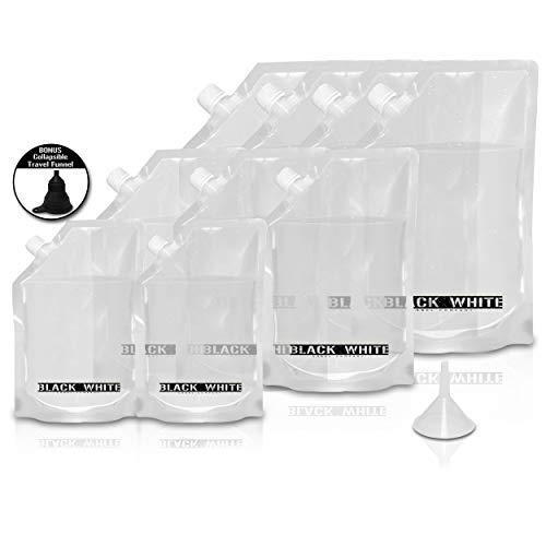 (9) Black & White Label Premium Plastic Flasks - Liquor Rum Runner Flask Cruise Kit Sneak Alcohol Drink Wine Pouch Set Reusable Concealable Flasks for Booze & Cocktails 4x32oz+3x16oz+2x8oz + Funnel