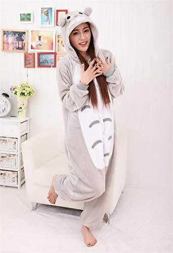 Animado for adultos Onesie franela de las mujeres pijamas animal de lujo del traje de Cosplay de una pieza Elf pijamas (Color : Totoro, Size : S)
