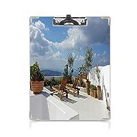 クリップボード 旅行の装飾 プレゼントA4 バインダー 秋のギリシャの島のトリニ観光の人気のある場所の木の画像 用箋挟 クロス貼 A4 短辺とじスカイブルー ホワイト