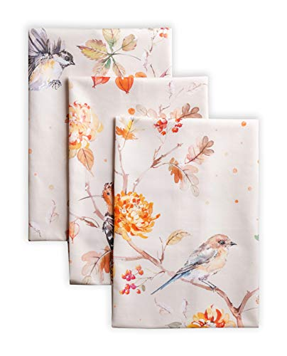 Maison d' Hermine Kelim 100% Cotton Set of 3 Multi-Purpose Kitchen Towel Soft Absorbent Dish Towels   Tea Towels   Bar Towels   Thanksgiving/Christmas (Prairie, 20 Inch by 27.50 Inch)