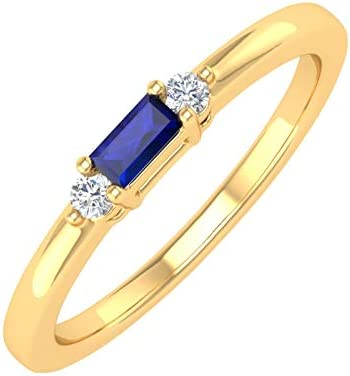 0 15 Carat Baguette Shape Blue Sapphire and Round White Diamond Engagement Ring in 10K Yellow product image