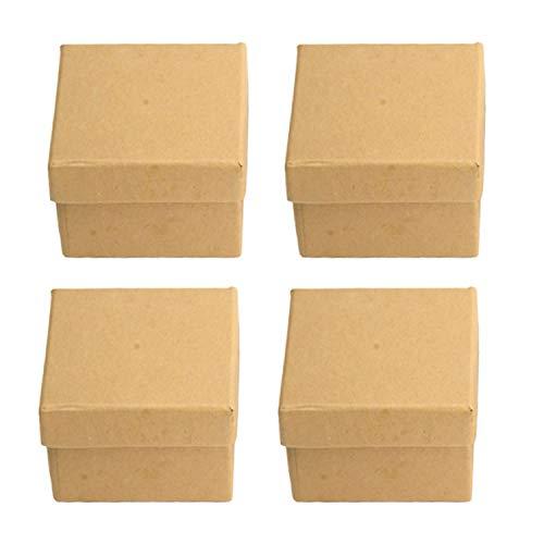 Pracht Creatives Hobby 7648-05541 Pappschachteln aus Kraftkarton im Set, 4 quadratische Geschenkboxen mit Deckel, je 6 x 6 x 3,5 cm groß, zum Verzieren, Aufbewahren und Verschenken