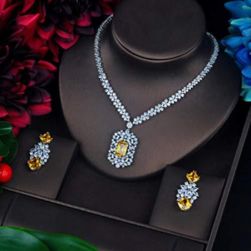 LIYDENG Joyería brillante piedra amarilla circonita cúbica conjuntos de joyas colgantes largos pendientes pendientes pendientes pendientes de gota accesorios de vestir (color oro blanco amarillo)