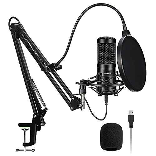 USB Condenser Microphone, Aokeo 192kHZ/24bit Professional PC Streaming Podcast Cardioid Microphone Kit with Boom Arm, Shock Mount, Pop Filter, for Recording, Gaming, YouTube,Meeting, Discord